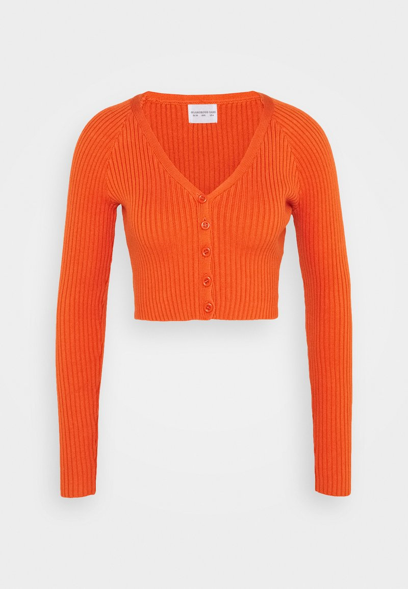 Glamorous - CARE RIBBED CROP CARDIGAN WITH LONG SLEEVES AND V-NECK - Jumper - rust