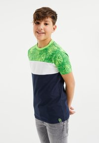 WE Fashion - MET COLOURBLOCK - Print T-shirt - green - 1