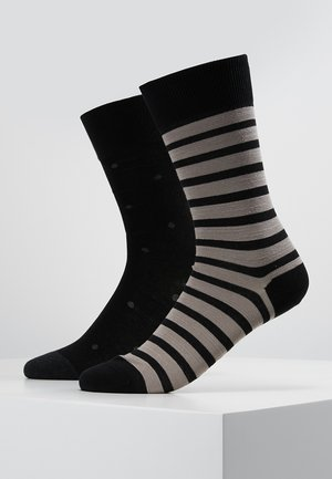 2 PACK EVEN STRIP DOT - Ponožky - black