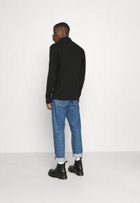 G-Star - 3D BIKER ZIP THRU KNIT L\S - Kofta - cotton tone fusion knit o - dk black - 2