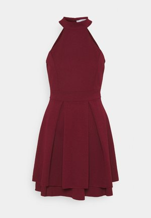 CHERYL HALTER NECK SKATER DRESS - Cocktail dress / Party dress - wine