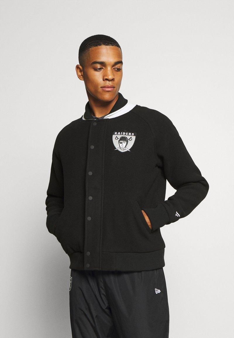 Fanatics - NFL OAKLAND RAIDERS TRUE CLASSICS LETTERMAN JACKET - Klubové oblečení - black