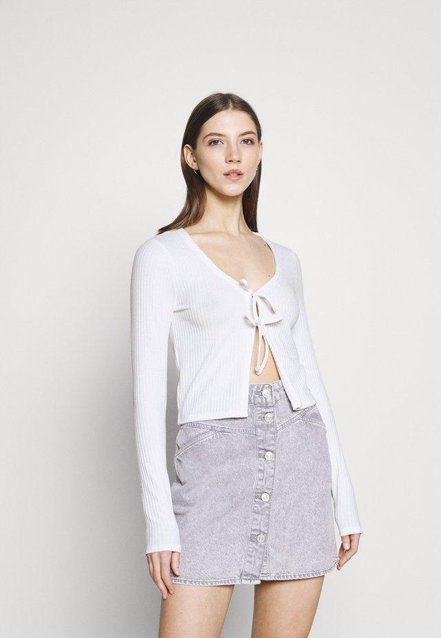 SLIM DOUBLE TIE - Cardigan - white