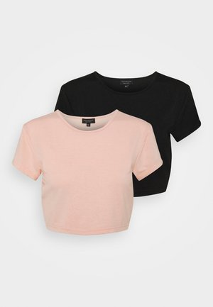 SUSTAINABLE CROP 2 PACK - Basic T-shirt - black/peach melba