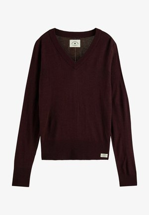 LIGHTWEIGHT WITH FITTED WAIST AND V-NECK - Jumper - wine