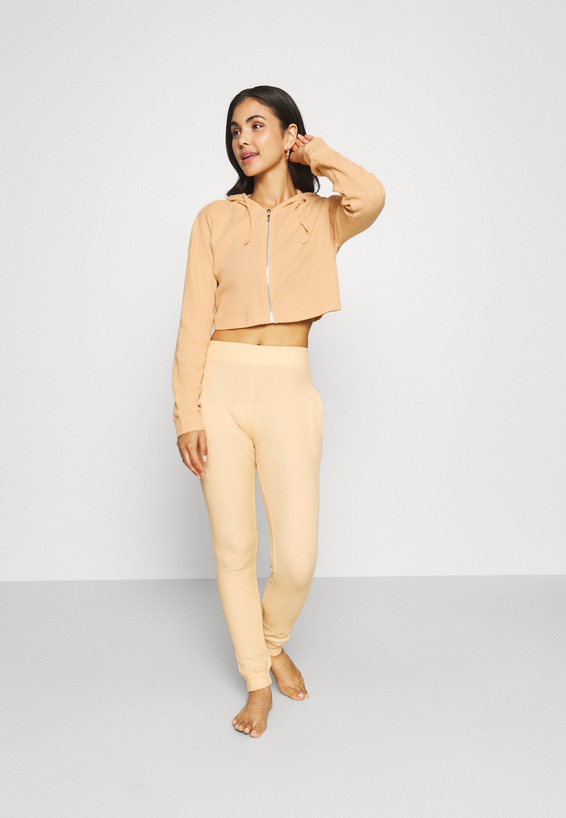 Damen WAFFLE ZIP CROP JACKET AND JOGGER - Pyjama