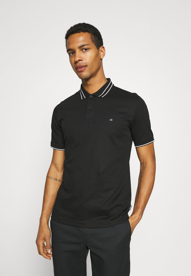 LIQUID TOUCH TIPPING SLIM - Poloskjorter - black
