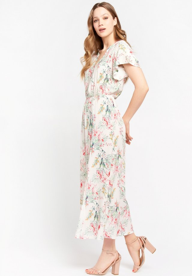 WITH TROPICAL PRINT - Shirt dress - white