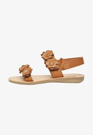 MIT MEHRLAGIGEN BLÜTEN - Sandals - braun