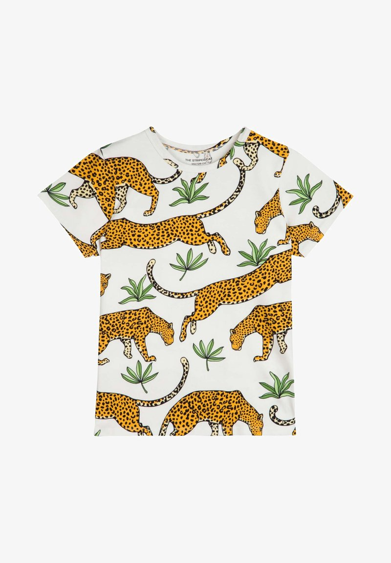 The Striped Cat - Print T-shirt - off-white