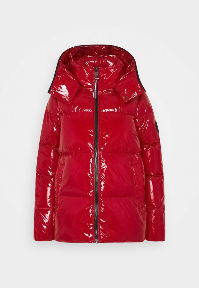 HIGH GLOSS PUFFER - Down jacket - arizona red