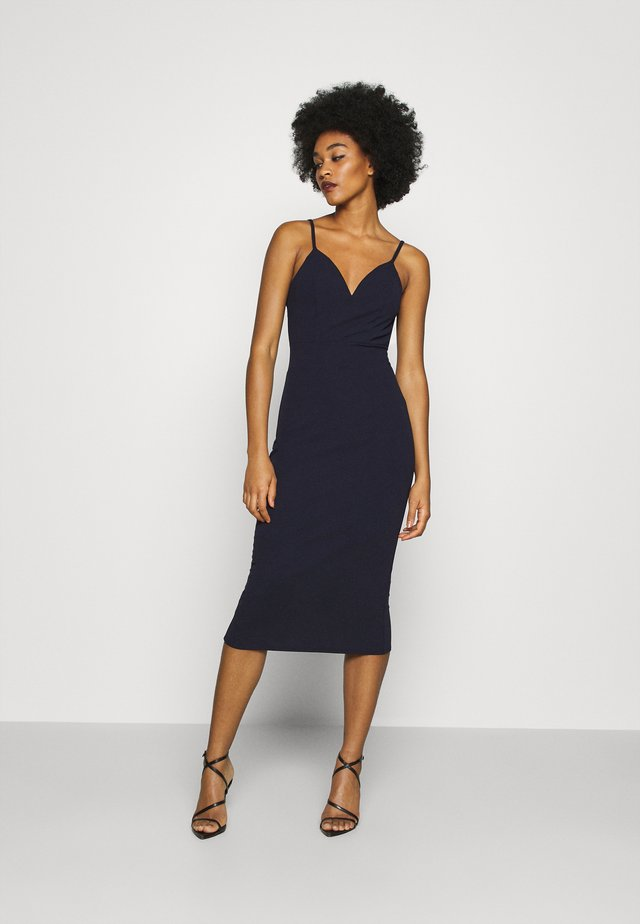 ANNALISE HIGH SPLIT MIDI - Robe d'été - navy