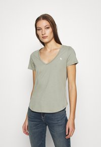 Abercrombie & Fitch - VNECK 3 PACK - Basic T-shirt - white/rose taupe/shadow - 2