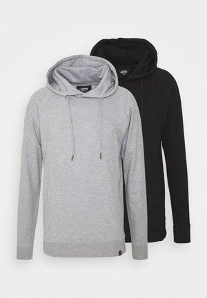 BASIC HOODIE 2 PACK - Sweatshirt - black/light grey melange