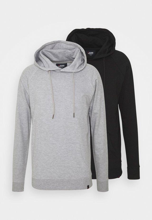 BASIC HOODIE 2 PACK - Felpa - black/light grey melange