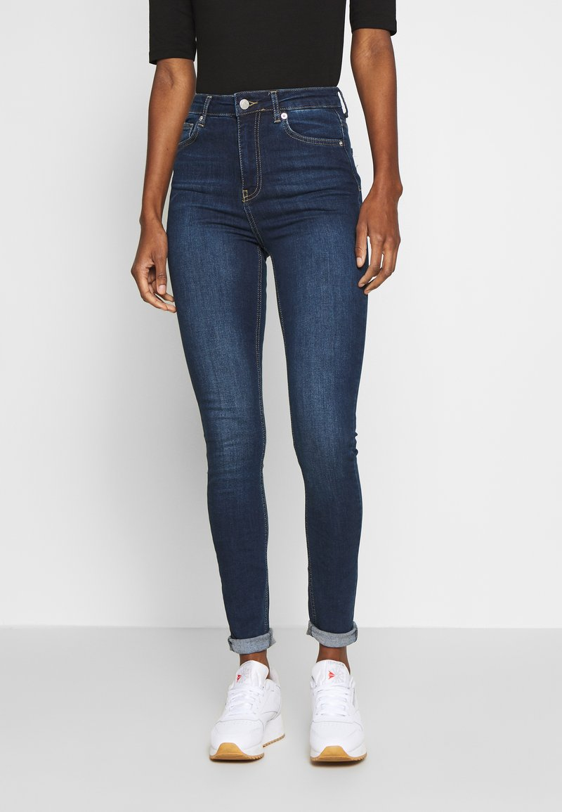 NA-KD Tall - HIGH WAIST RAW - Jeans Skinny Fit - dark blue