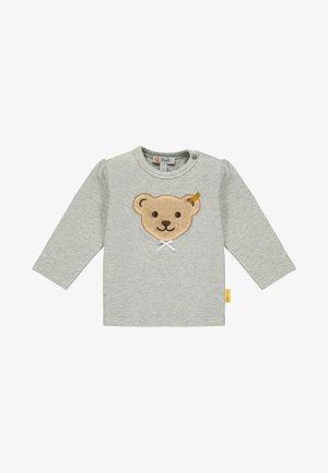 MIT GROSSEM TEDDYBÄRMOTIV UND SCHLEIFE - Long sleeved top - soft grey melange