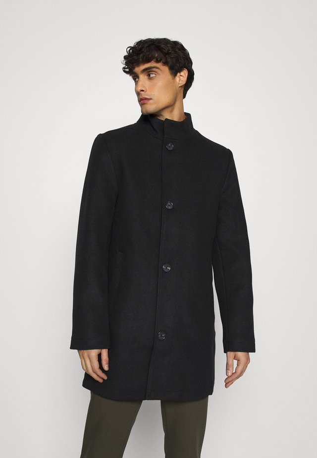 STAND UP COLLAR COAT - Short coat - black