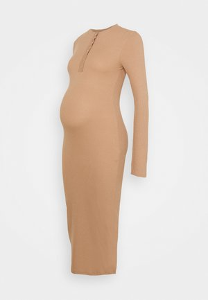 POPPER H NECK DRESS - Shift dress - brown
