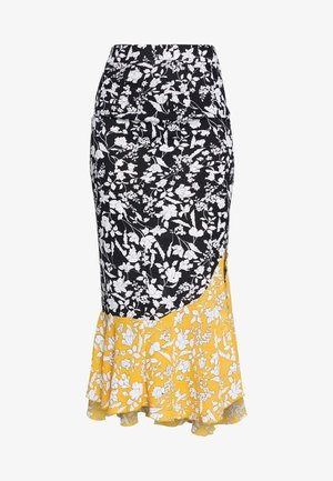 MIXED FLORAL SLIT FRONT MIDI SKIRT - Kynähame - black