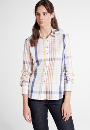 MODERN CLASSIC - Button-down blouse - blue/ocher yellow/white