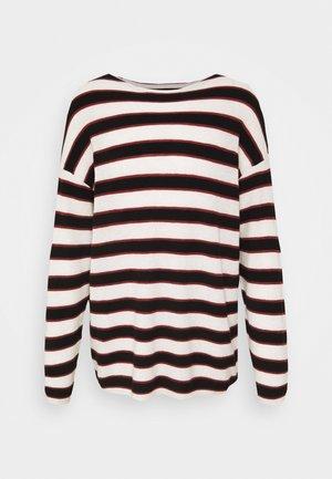 TERREN CREW - Stickad tröja - ecru/black/red