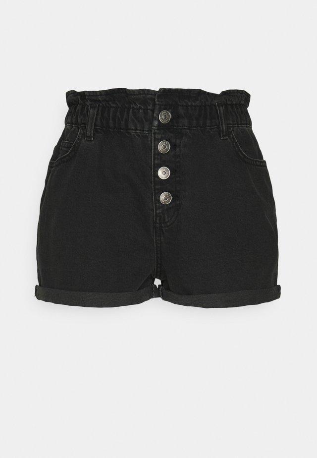 ONLBAY LIFE PAPERBAG - Denim shorts - black