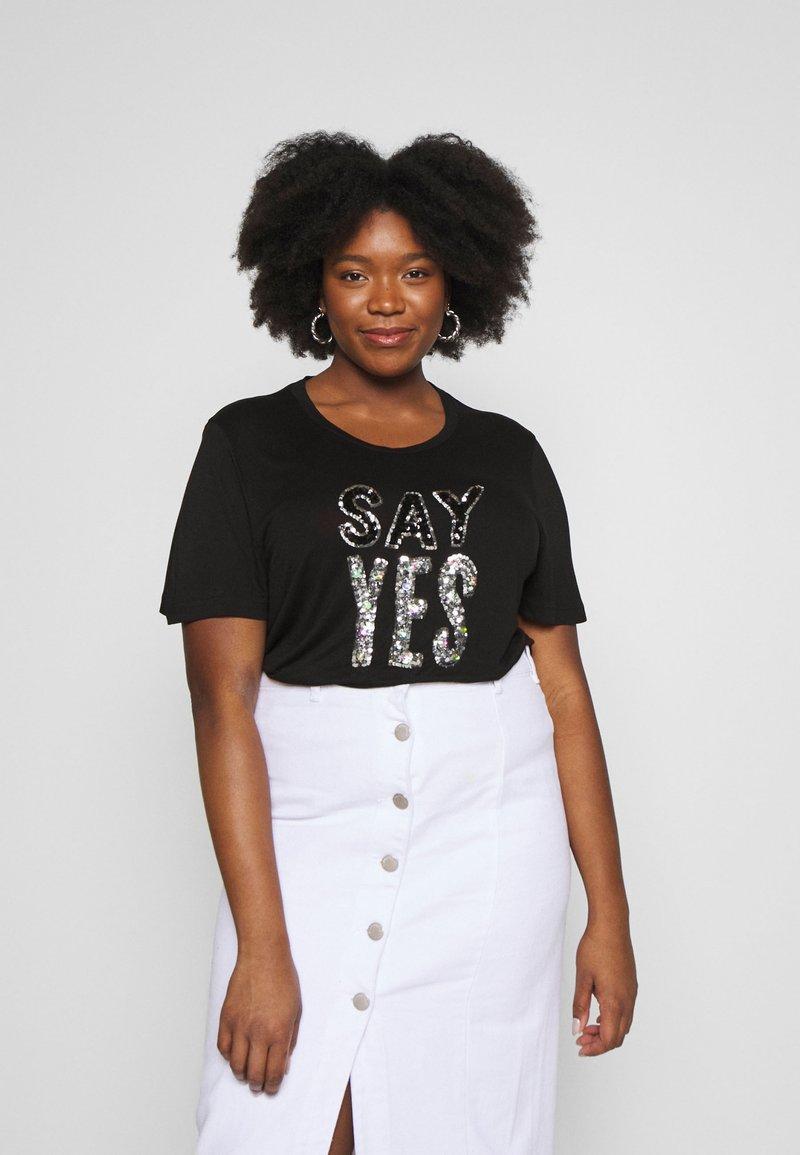 Simply Be - SEQUIN - T-shirts print - black