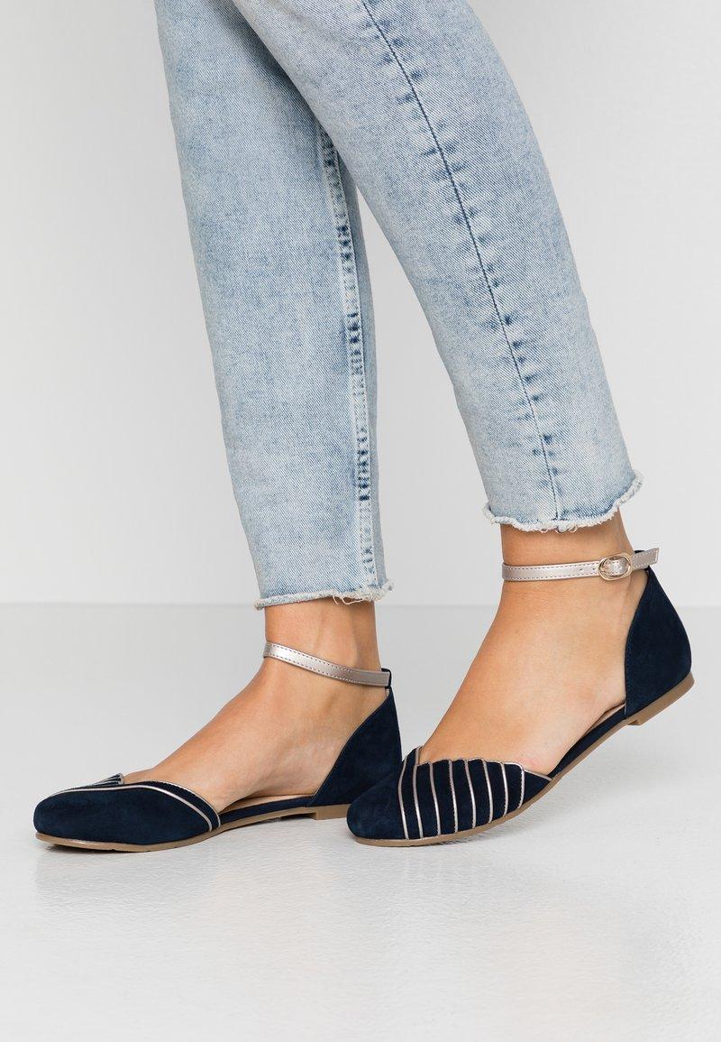 Anna Field - LEATHER - Ankle strap ballet pumps - dark blue