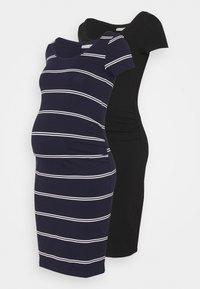 Anna Field MAMA - 2 PACK - Jerseyjurk - black/dark blue/white - 0