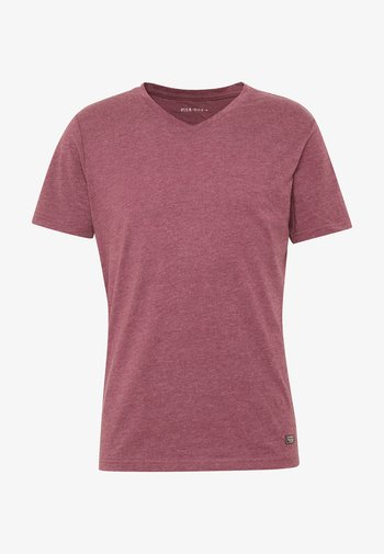 Basic T-shirt - mottled bordeaux