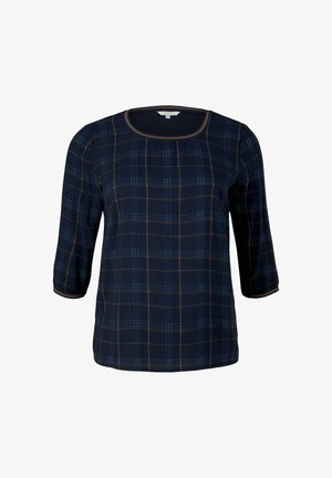 Topper langermet - navy bold printed check