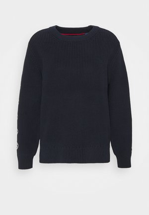 DETAIL SLEEVE CREWNECK - Neule - evening blue