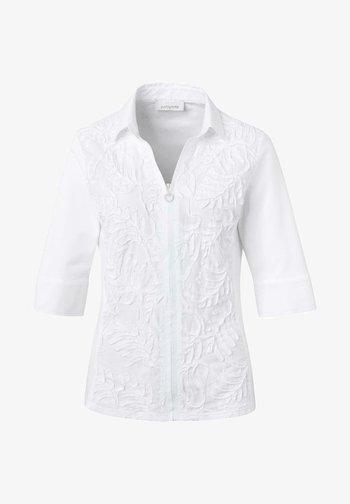 Button-down blouse - weiß uni