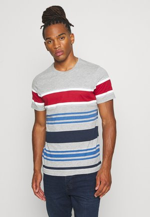 JALOPY - Print T-shirt - light grey marl/white/red/light blue/rich navy