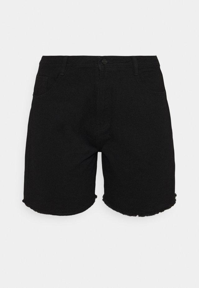 FRAYED LONG LINE  - Shorts di jeans - black