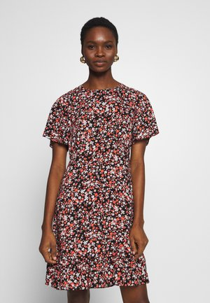 FLORAL EMPIRE SEAMED FIT AND FLARE DRESS - Kjole - black