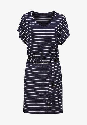 MIT BINDEGÜRTEL - Vestito di maglina - navy