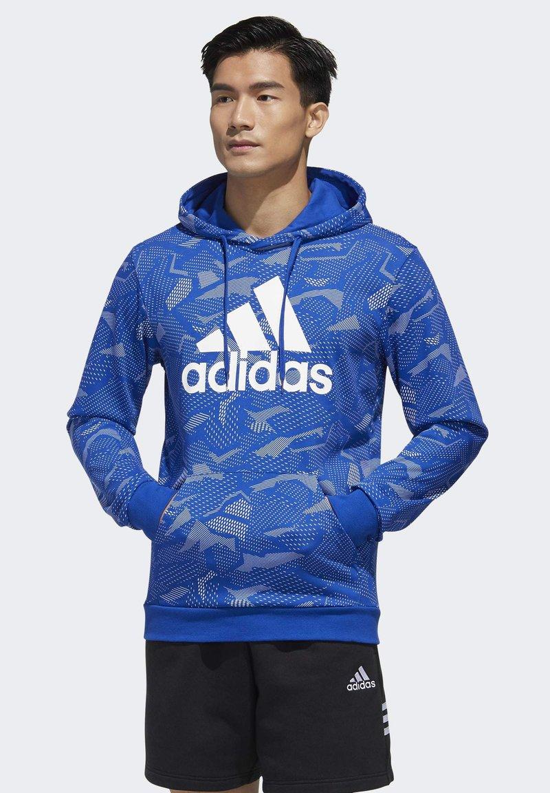 adidas Performance - ESSENTIALS ALLOVER PRINT HOODIE - Hoodie - blue