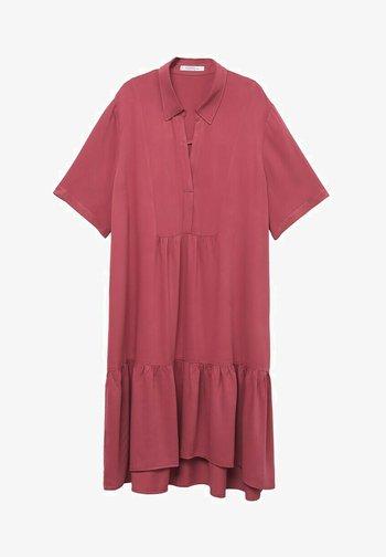 MIT VOLANT - Day dress - erdbeerrot