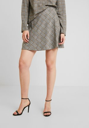CHECKED SKIRT WITH ZIPPER - A-line skirt - black/white/yellow