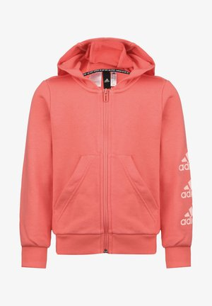 MUST HAVES BADGE OF SPORT - Hoodie met rits - semi flash red / haze coral