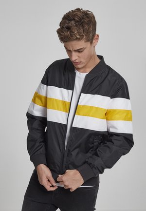 STRIPED NYLON JACKET - Summer jacket - black/white/chromeyellow