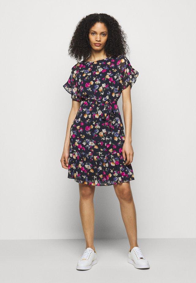 PRINTED DRESS - Korte jurk - light navy/pink/multi