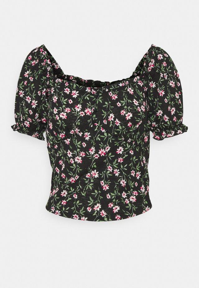 ONLPELLA  V-NECK TOP - T-shirts med print - black/flowering vines