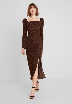 LEOPARD PRINT SQUARE NECK SLIT FRONT DRESS - Kjole - black