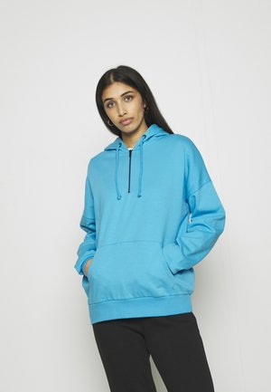 OVERSIZED HALF ZIP SWEAT  - Jersey con capucha - blue