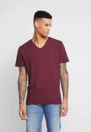 SLUB VNECK - T-shirt - bas - burgundy