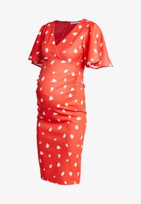 True Violet Maternity - BATWING MIDI BODYCON - Kotelomekko - red/cream spot - 3