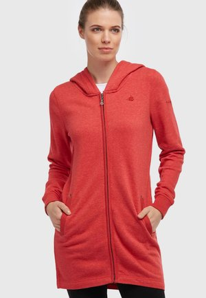 Zip-up hoodie - dark red melange